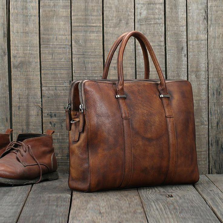 Handmade Vintage Brown Leather Briefcase Men Business Bag Handbag Fashion Laptop Bag 14119 - LISABAG