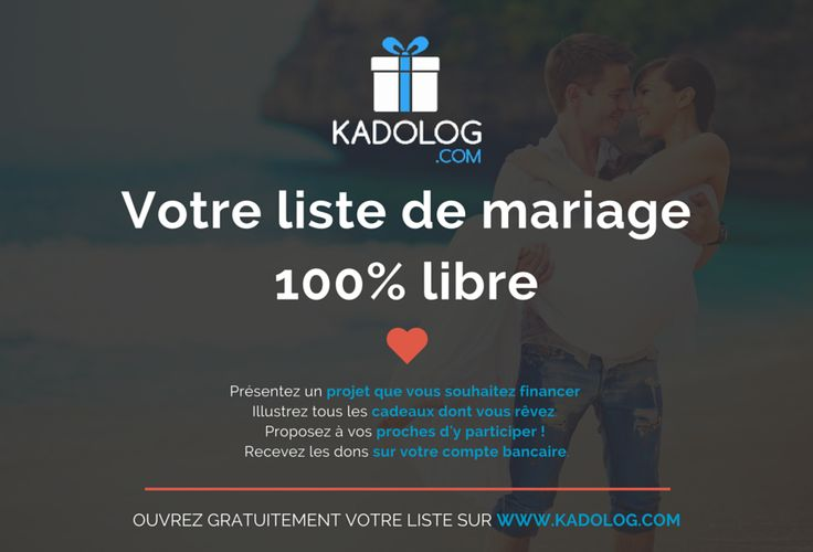 Votre liste de mariage en quelques clics sur Kadolog  Kadolog vous offre la solution pour votre liste de mariage en ligne. Tout est prévu pour présenter les projets qui vous tiennent à coeur, les cadeaux dont vous rêvez, et recevoir les dons directement sur votre compte bancaire.