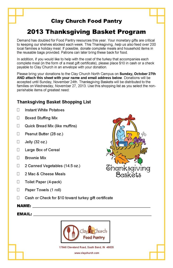 Thanksgiving Baskets Ministry Food List