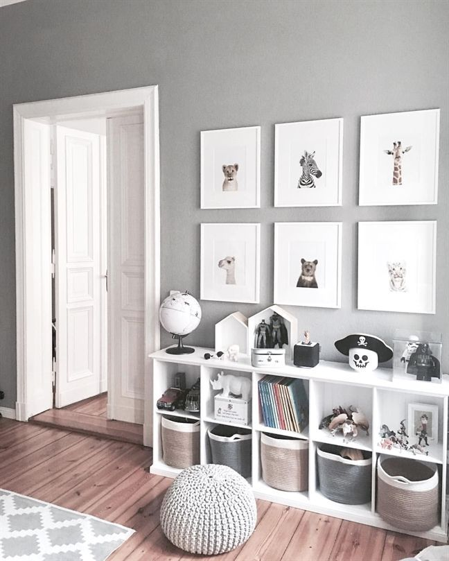 Grey and white bedroom decor playroom. Cube bookshelves for heaps of storage for toys anf kids books. Love the baskets. Framed prints. Boys bedroom id…