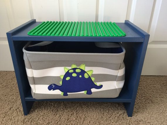 Blue Solid Wood Lego And Duplo* Double Sided Table With Dinosaur Storage  Basket
