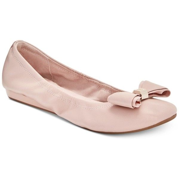 Bandolino Ferrista Bow Flats ($69) ❤ liked on Polyvore featuring shoes, flats, light pink, wedge shoes, wedge sole shoes, bow flats, flat wedge shoes and flat heel shoes