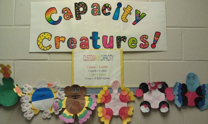 """""""Capacity Creatures"""" Each creature must include - 1 gallon, 4 quarts, 8 pints, and 16 cups"""