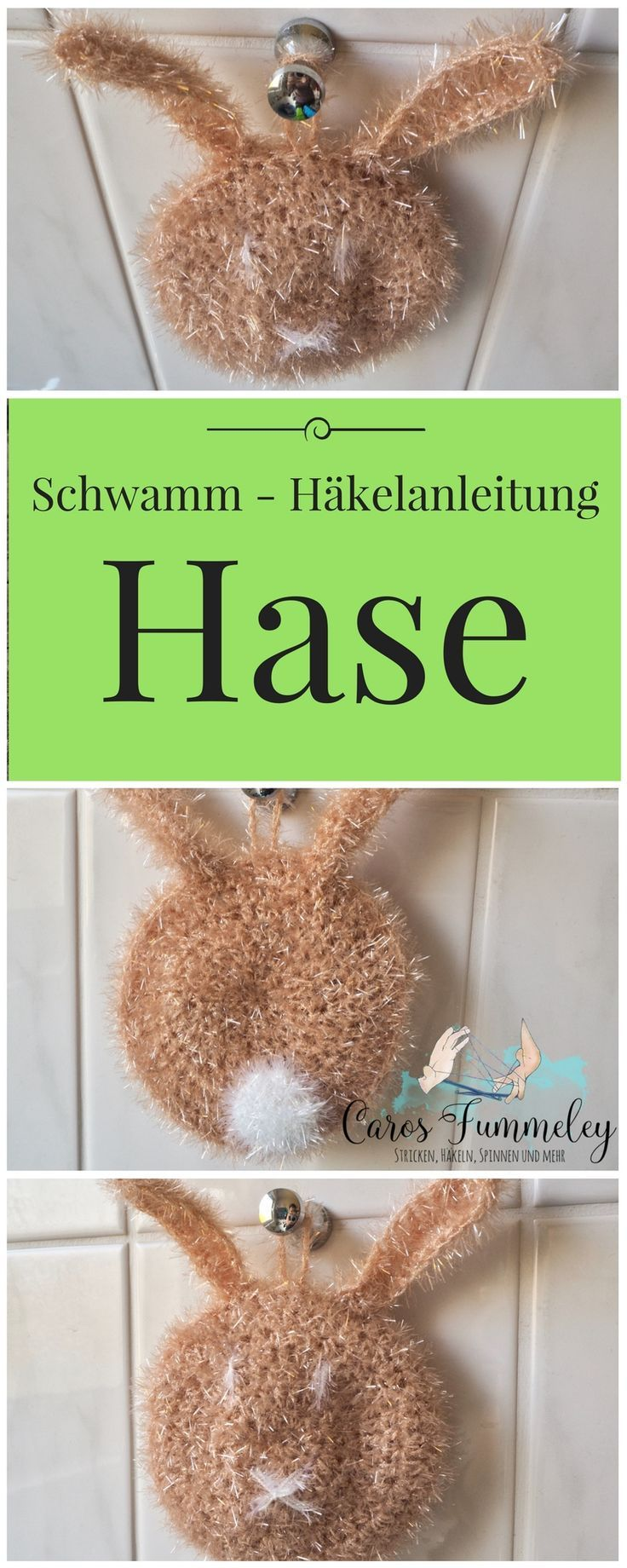 Osterhase - Spülschwamm zum Häkeln aus rico creative bubble Garn - Hasenanleitung