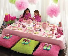 spa birthday party cute idea to use baskets from Dollar tree to