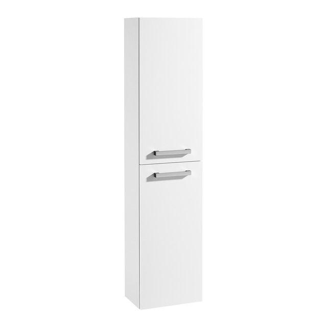 Módulo columna reversible de aglomerado con 2 puertas batientes con cierre amortiguado, tiradores de fácil apertura y 4 estantes interiores de altura regulable.