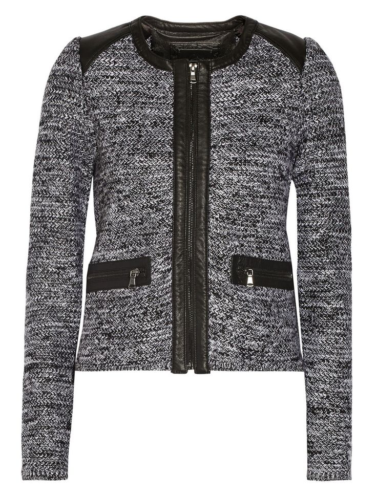 Line - Hyde Leather-Trimmed Knitted Jacket