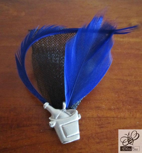 Blue and black lapel pin with Champaign bucket by WhiteBea on Etsy, $12.50