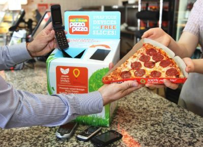 Pizza Pizza Slices for Devices Free Pizza for Dropping off Small Device E-Waste - Canada
