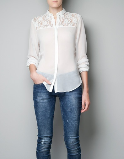 COMBINED TOP WITH LACE YOKE - Shirts - Woman - ZARA United States