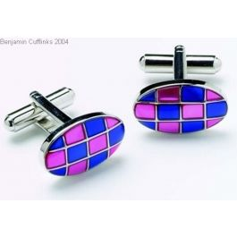 Blue and Pink cufflinks - Blue and Pink should always be seen together. It is a match made in heaven. These cufflinks may cause a rush of blood to the head as you get some serious attention.