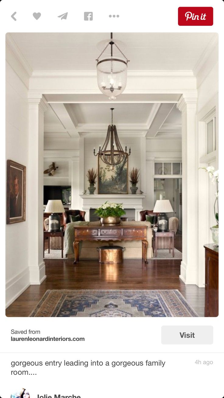 Gorgeous Entry Leading Into A Gorgeous Family Room....I Love The Wine  Barrel Chandelier Want One For My Foyer!!