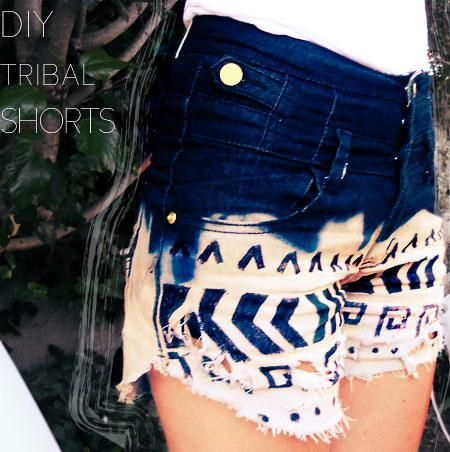 DIY Clothes Refashion: DIY Tribal Shorts