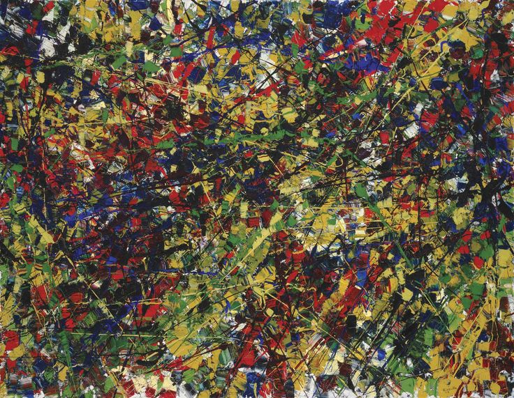 Jean-Paul Riopelle Jouet (1923-2000) was a painter and sculptor from Quebec, Canada who was one of 1st Canadians to attain international recognition.  Riopelle's style in the 1940s changed quickly from Surrealism to Lyrical Abstraction, in which he used myriad tumultuous cubes and triangles of multicolored elements, facetted with a palette knife, spatula, or trowel, on often large canvases to create powerful atmospheres. He lived at times with Joan Mitchell who had a great influence on him.