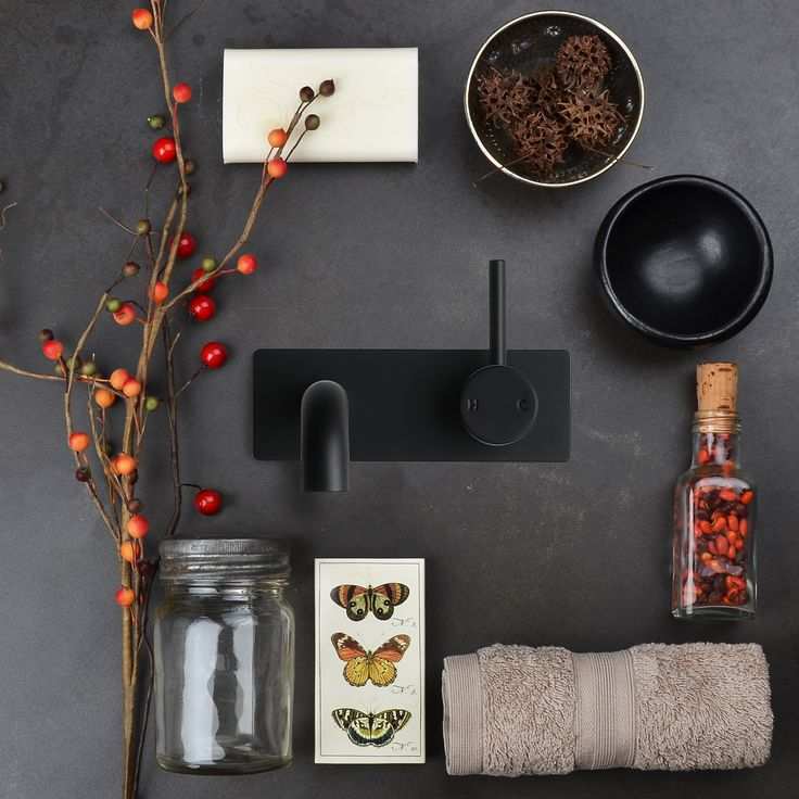 Awesome inspiration for a Friday! Dramatic colour palette featuring hues of the approaching Autumn and the all new Pegasi M Backplate Basin Mixer in our signature Switzrok Matte Black finish. #faucetstrommen #pegasi