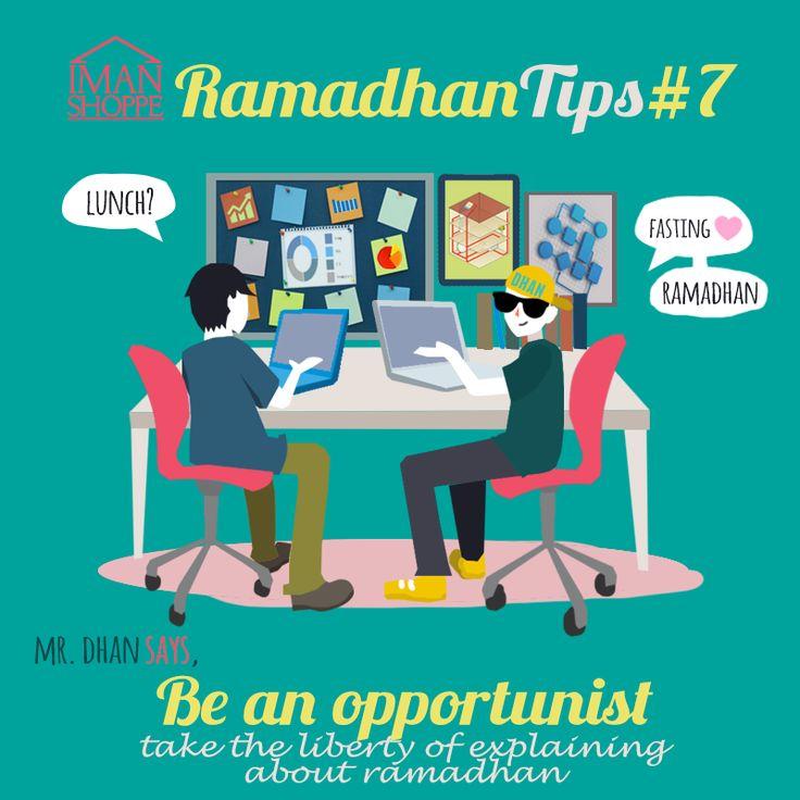 "Iman Shoppe Ramadhan Tips #7. Mr.Dhan says,  Be an opportunist & take the liberty of explaining about Ramadhan :)  -- Jadi bila orang lain (terutama kawan non-muslim) tanya kita, ""Puasa ke tidak?"", jangan marah2 :D   Kemungkinan besar mereka tidak tahu atau tidak memahami.   Ambillah peluang tersebut untuk berdakwah kepada meraka.   Salam Jumuah kepada semua!   #RamadhanMilikKita #RamadhanTips"