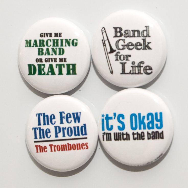 Set of Four Marching Band Trombone Buttons. $5.00, via Etsy.