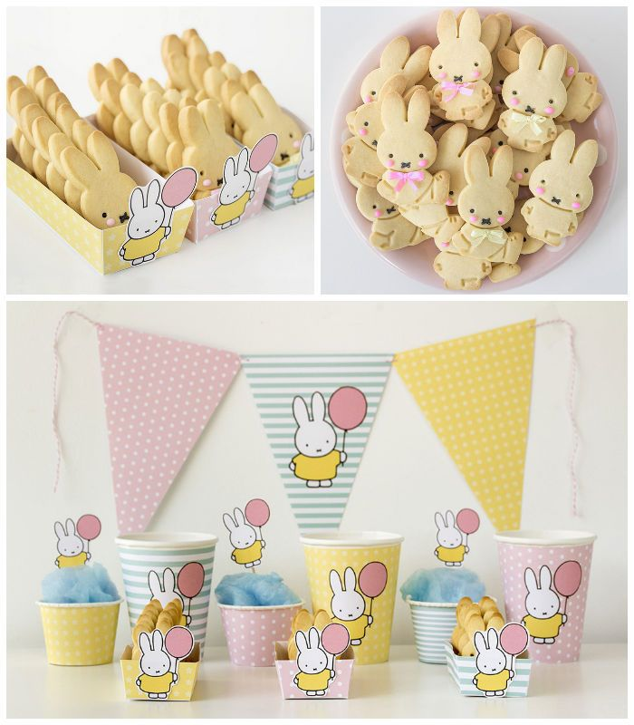 Miffy Bunny Party with Free Printables! via Kara's Party Ideas KarasPartyIdeas.com Printables, desserts, supplies, banners, and more!