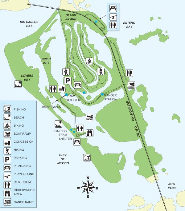 Map of Lovers Key State Park wonderful bayous to kayak, paddle board  or canoe