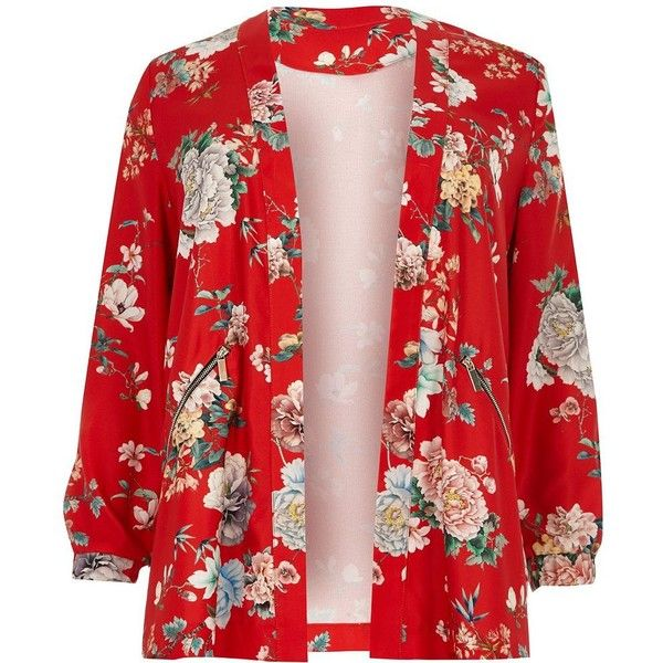 River Island Plus red floral print zip detail jacket ($90) ❤ liked on Polyvore featuring outerwear, jackets, plus size jackets, river island, plus size red jacket, river island jackets and women's plus size jackets