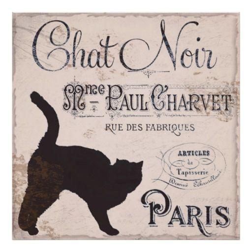 Vintage Frans Teken, Praatje Noir, Parijs, Zwarte  Poster