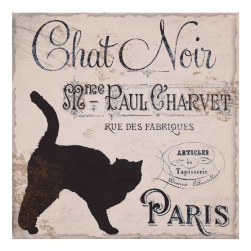 vintage+black+cat+images | Vintage French Sign, Chat Noir, Paris, Black Cat Posters