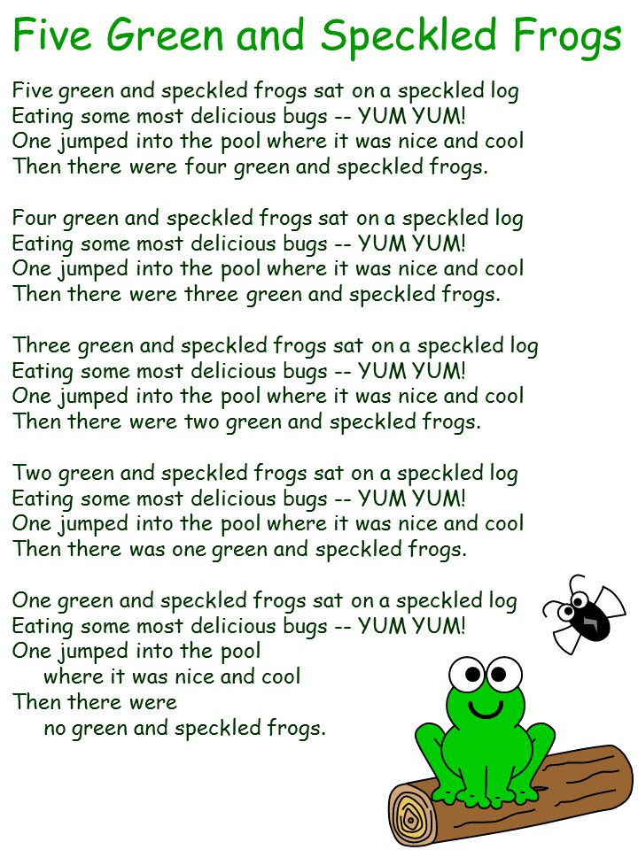 5 Green and Speckled Frogs Song
