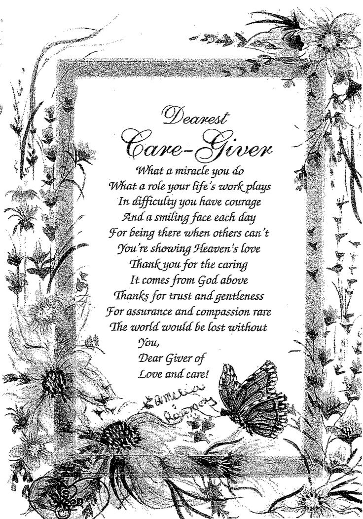 caregiver poems of appreciation poems - Google Search