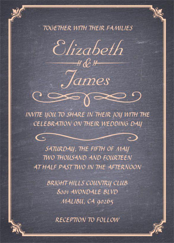 Chalkboard Wedding Invitation Template Free Awesome 26 Chalkboard Wedding Invita 2020