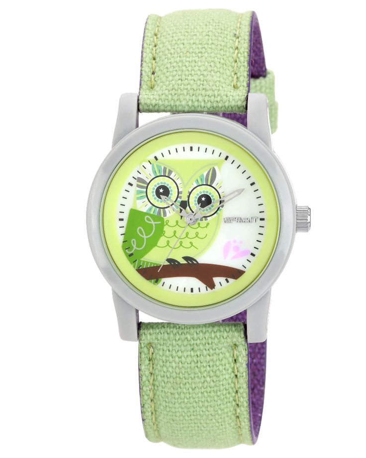 Cute Owl watch.  Made from organic cotton and corn resin.