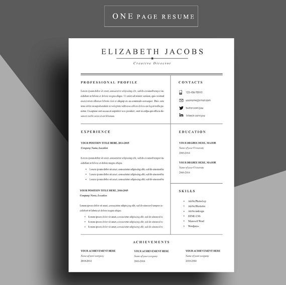 25+ parasta ideaa Pinterestissä Job resume template - one page resume format