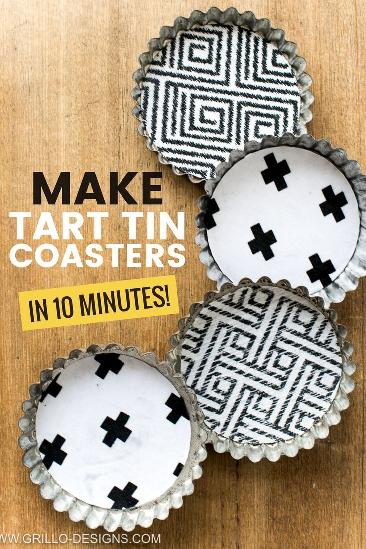 Easy tutorial on how to make coasters from old vintage tart tins/pans