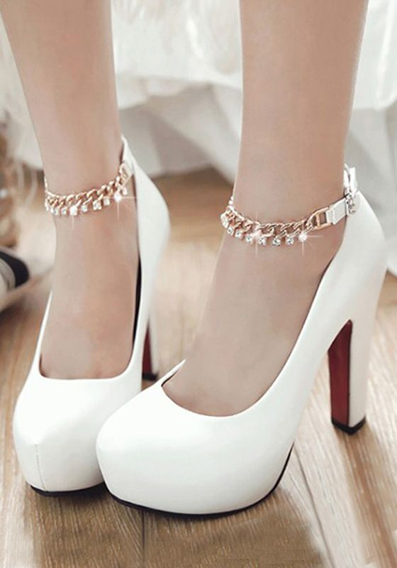 White Round Toe Chunky Rhinestone Casual High-Heeled Shoes