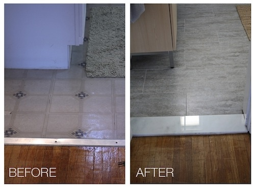 Grey toned marble with white will work now and with the future white bathroom. - vinyl floor tile with marble threshold  Bathroom, after.
