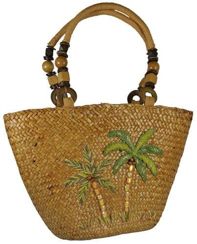 NEW CAPPELLI Seagrass STRAW PALM TREE Embroidered Handbag ...