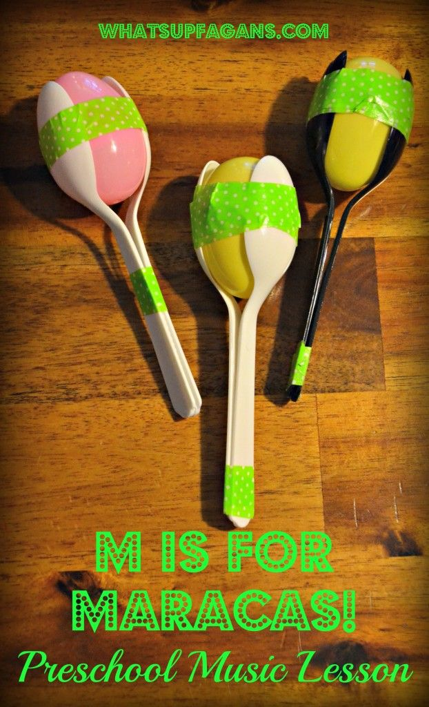 M is for Music Preschool Lesson Plan - Make homemade maracas made from spoons, tape, plastic egg, and rice! whatsupfagans.com