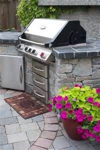 Napoleon grill in an outdoor kitchen.