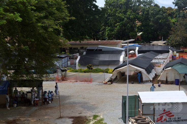 ギニアの首都コナクリ(Conakry)の病院に設置されたエボラ出血熱患者の隔離治療区域(2014年6月25日撮影、資料写真)。(c)AFP/CELLOU BINANI ▼24Jul2014AFP|西アフリカのエボラ流行、治療施設の主任医師が感染 シエラレオネ http://www.afpbb.com/articles/-/3021406