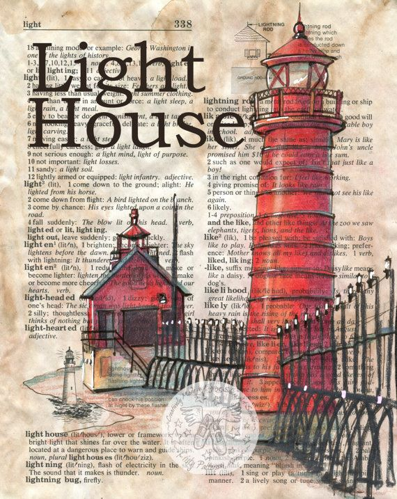 PRINT: Lighthouse Mixed Media Drawing on Dictionary Page