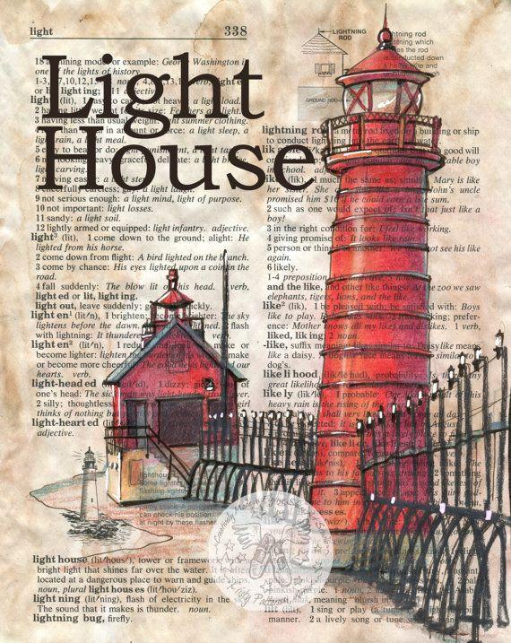 Druck: Leuchtturm-Gemischte Medien Zeichnung auf Wörterbuch-Seite