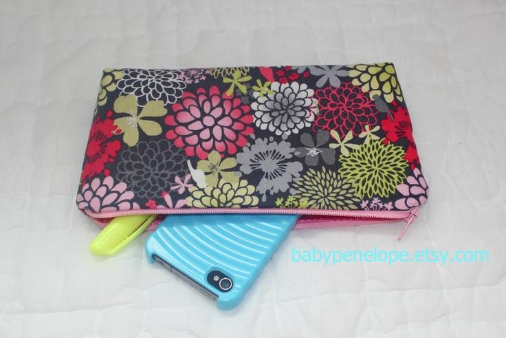 Pencil Case/Cosmetic Bag/ Gadget Case - Studio e - Joyful Garden. $10.00, via Etsy.