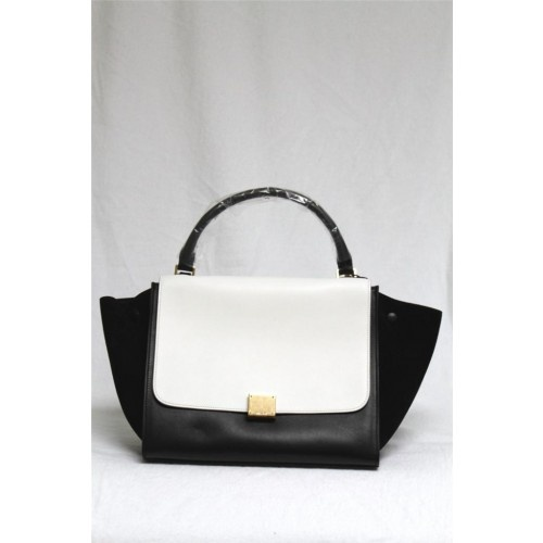 celine white leather handbag trapeze