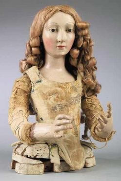 antiques price guide, antiques priceguide, textiles & clothing, , A Good Polychromed Wood Mannequin Head and Torso, 18th century, the female form with glass eyes and long blonde curled tresses, wearing antique stomacher.