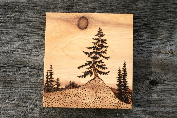 Wood burning Art Tree Landscape The Watcher by TwigsandBlossoms