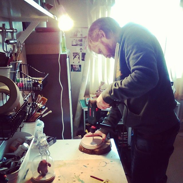 """Prepping bases for sculptures #allcreatures #Grahamcarter"""