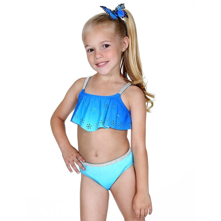 Hula Star Blue Ombre Silver Sparkle 2pc Swimsuit Little ...