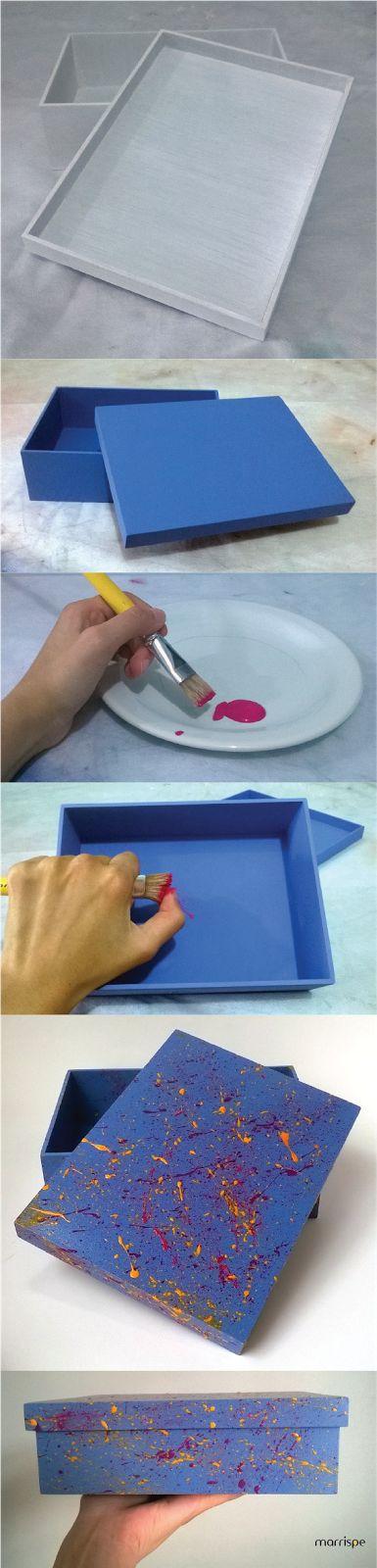 Passo-a-passo: caixa decorada com chuviscos de tinta #artesanato #mdf #pintura…