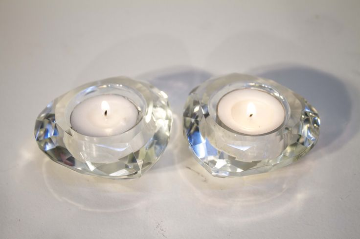 Beautiful heart shaped crystal tealight containers.
