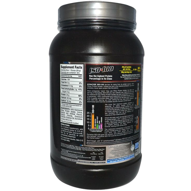 Dymatize Nutrition, ISO•100, 100% Hydrolyzed Whey Protein Isolate, Gourmet Chocolate, 2 lbs (910 g)
