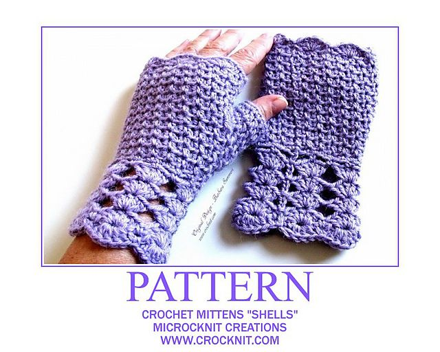 "Ravelry: Crochet Mittens ""SHELLS"" pattern by Barbara Summers"
